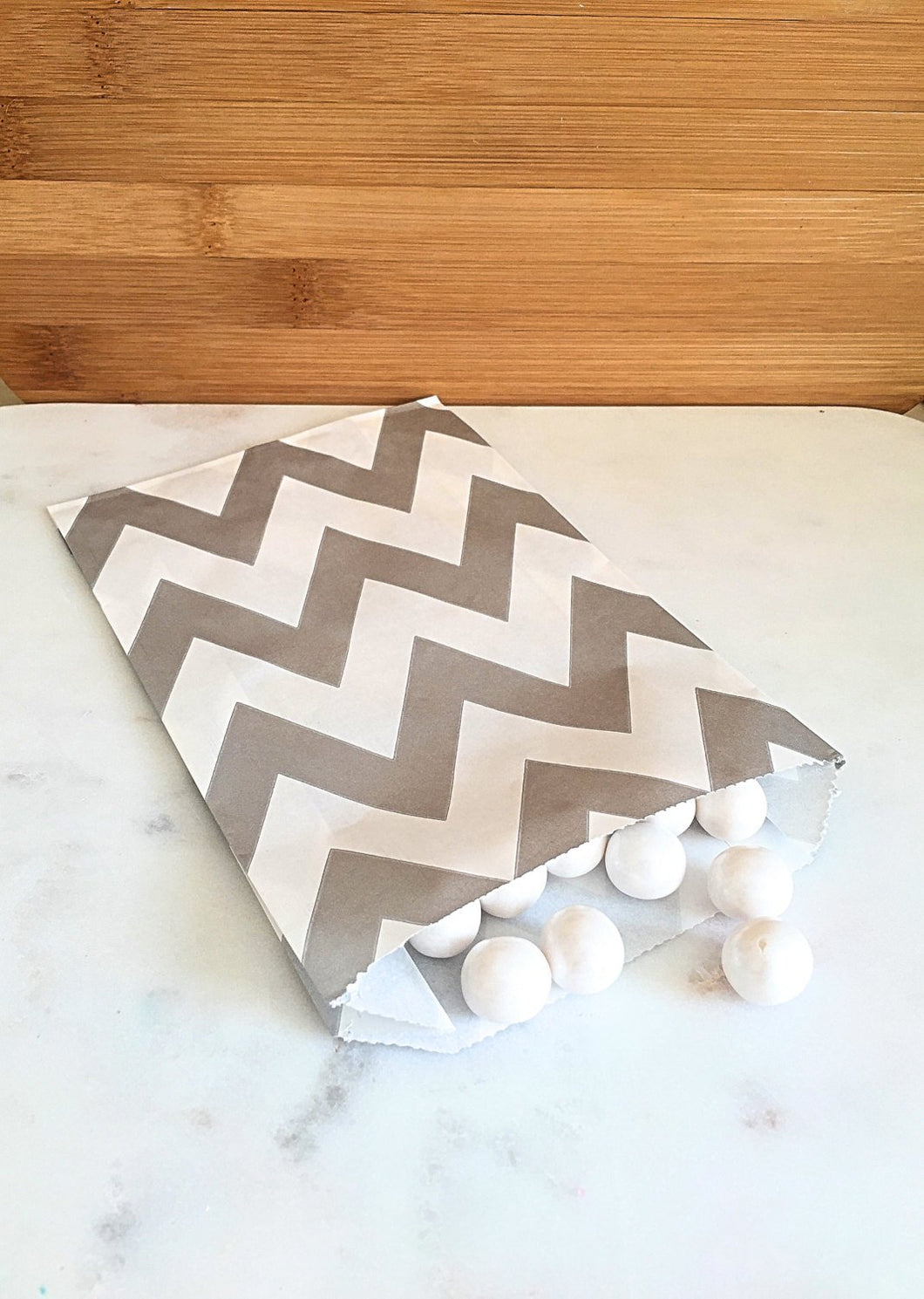 Silver Chevron Goodie Bags, Party Favors, Food safe (12)