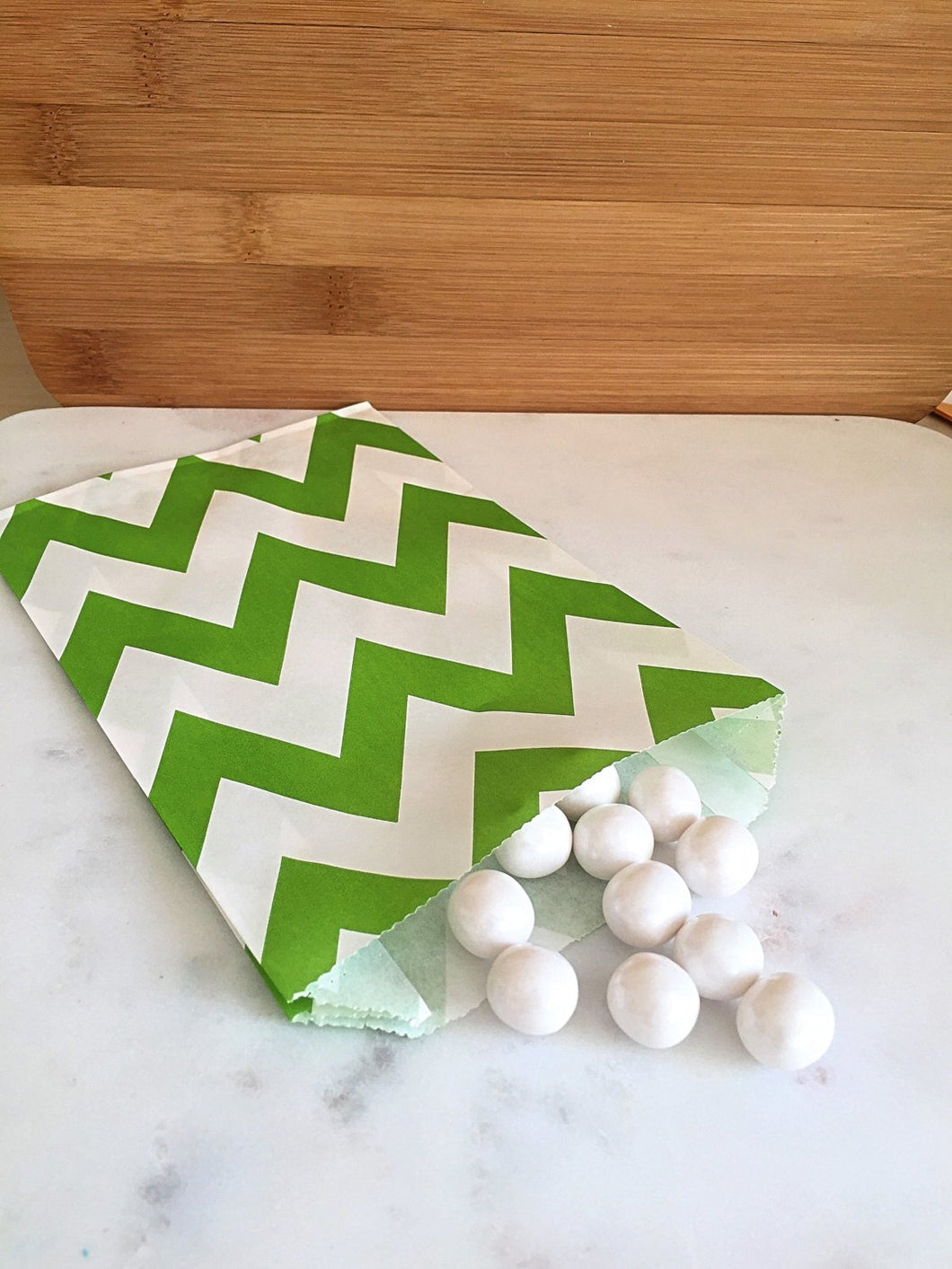 Lime Green Chevron Goodie Bags, Party Favors, Food safe (12)
