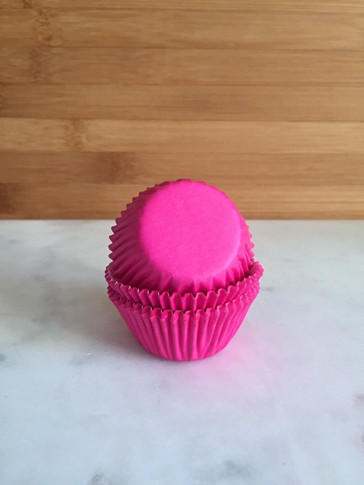 MINI Hot Pink Color Cupcake Liners, MINI Sized, Baking Cups (50)