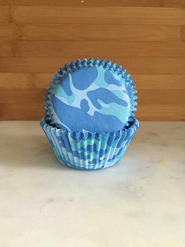 Blue Camo Cupcake Liners, Standard Sized, Baking Cups (50)