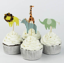 Children's Safari Animals, Cake, Cupcake Toppers (24)