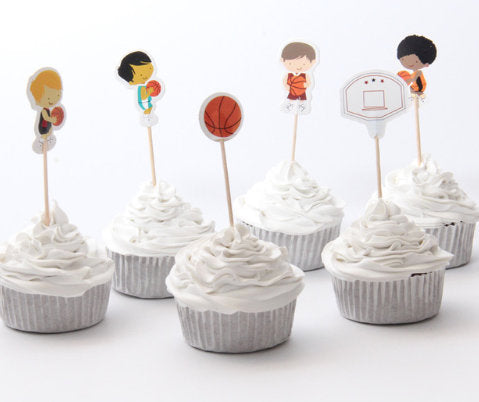 Basketball Cake, Cupcake Toppers (24)