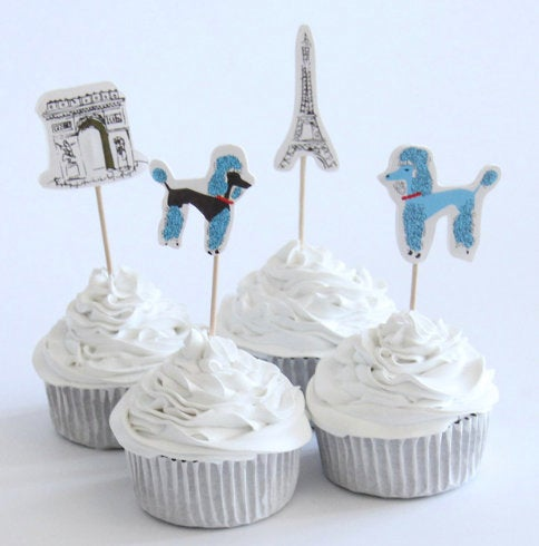Paris, Cake, Cupcake Toppers (24)