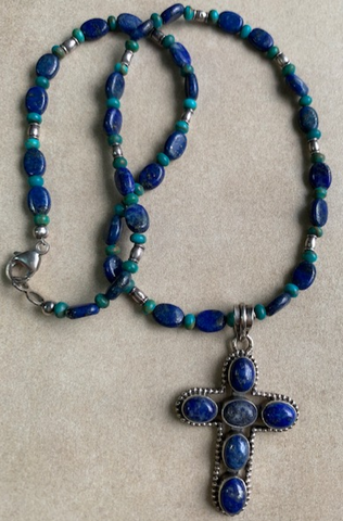 Lapis lazuli cross with lapis, turquoise and sterling silver