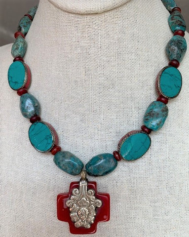Tibetan square cross with artisan beads, red horn and turquoise