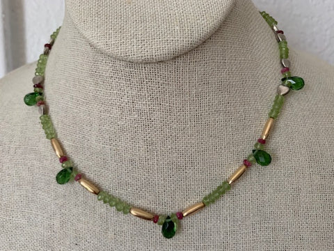 Faceted peridot, pink spinel, green quartz with gold-fill hearts