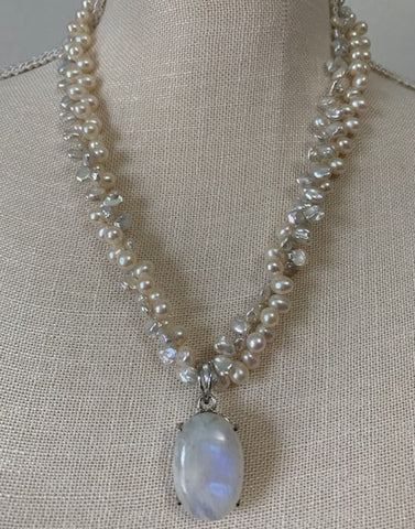 Moonstone with double strands of white pearls