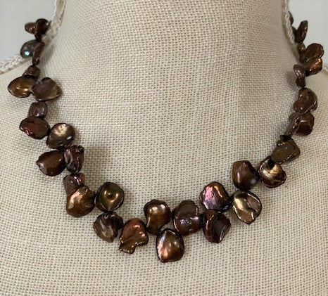 Coffee brown Keishi pearl necklace with sterling silver