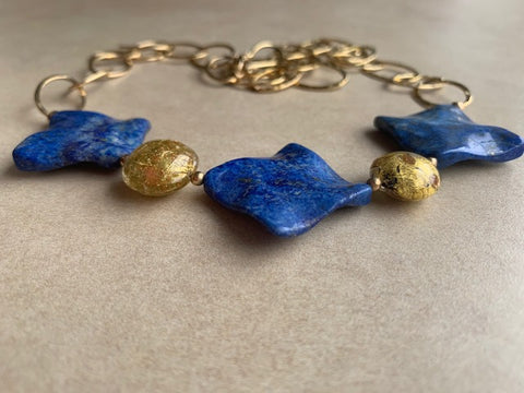 Lapis Lazuli and 24K gold Murano glass beads and gold chain