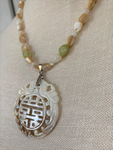 Ivory Mother-of-pearl with mother-of-pearl beads and sterling silver