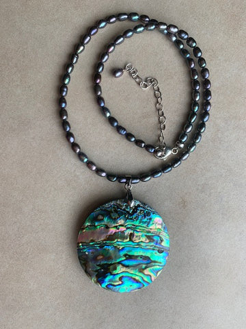 Paua shell with pearls and sterling silver