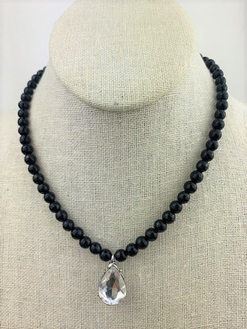 Sparkly drop with faceted black onyx and sterling silver
