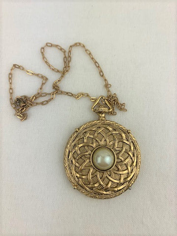 Vintage, ornate two sided, one sided mirror on gold chain