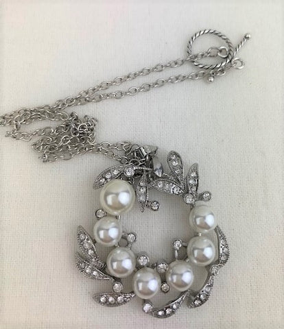 Vintage crystals and white pearl wreath on silver chain