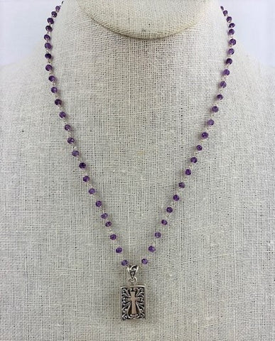 Silver box framed Cross is strung on amethyst wire-wrapped chain