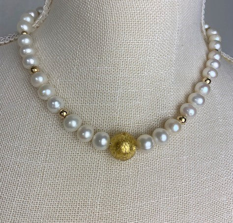 24K Gold Murano glass bead with white pearls