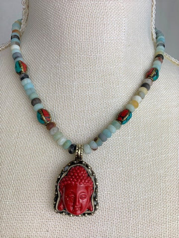 Red Buddha with Tibetan beads and Amazonite stones