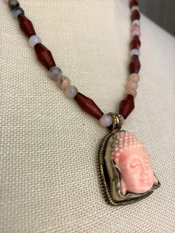 Pink Buddha with pink opal and wood beads