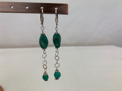 Turquoise and silver chain on sterling silver lever-back earrings