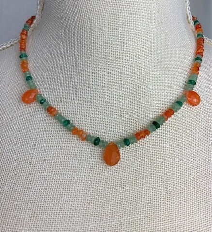 Green aventurine and carnelian drops