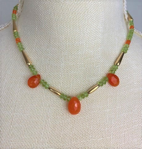 Carnelian pears with faceted green aventurine and carnelian