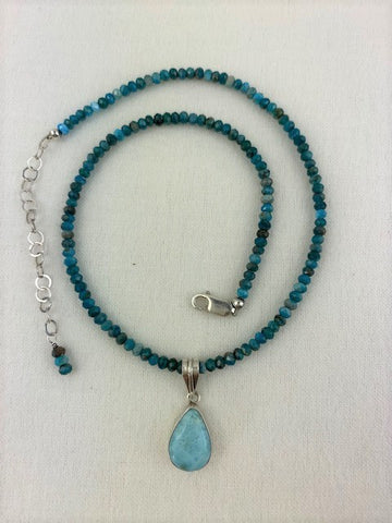 Larimar with faceted apatite and sterling silver