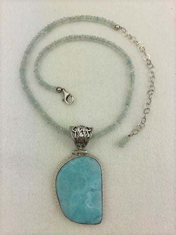 Larimar with faceted aquamarine and sterling silver