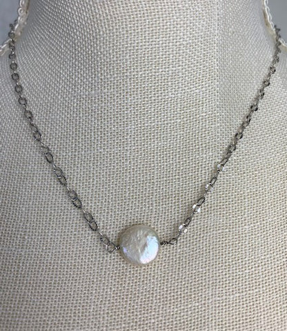 White coin pearl on sterling silver chain