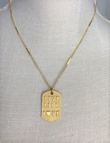 Gold Live Life Love medallion on gold chain