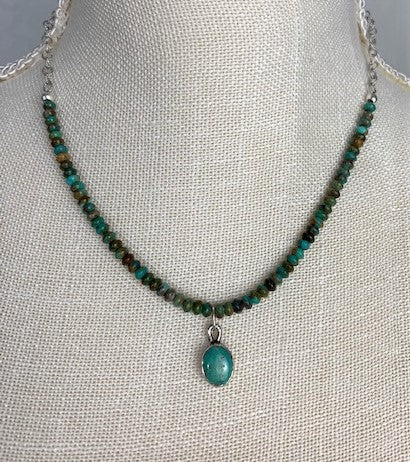 Green turquoise with sterling silver