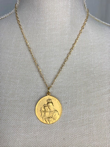 Gold Madonna and Child on gold chain