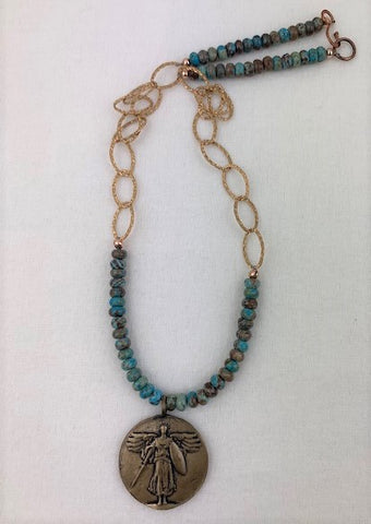 Archangel Michael with green turquoise and copper chain