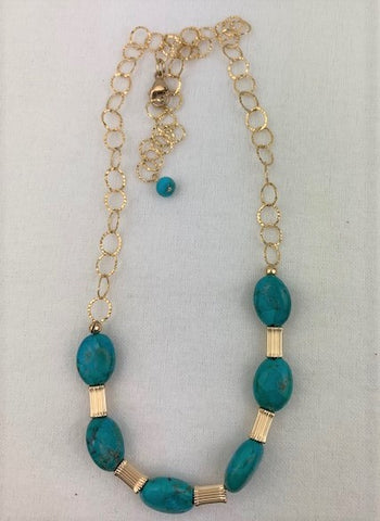 Natural turquoise with gold chain