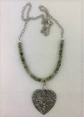 Antique silver heart with fairy and moss-green faceted agate