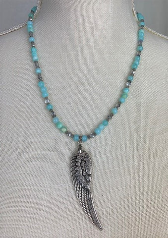 Silver angel wing with blue opal, labradorite and sterling silver