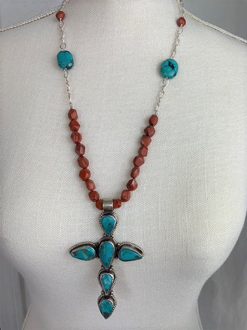 Large turquoise cross with red jasper and sterling silver