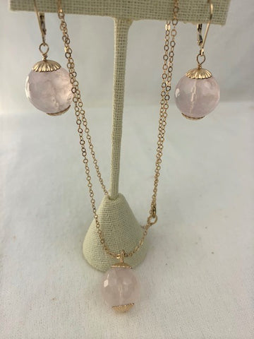 Faceted rose quartz and gold necklace and earring set