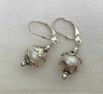 White pearl with sterling silver end cap on lever-back earrings