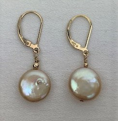 Golden coin pearl on gold lever-back earrings