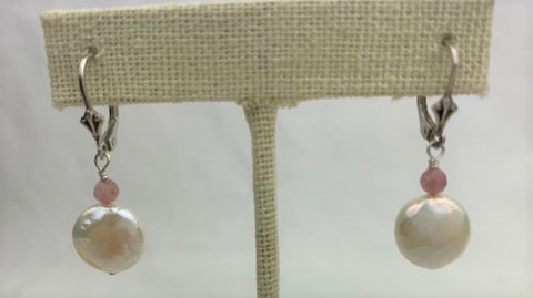White coin pearl with raw ruby on sterling silver lever-back earrings