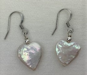 White pearl heart on surgical steel earrings