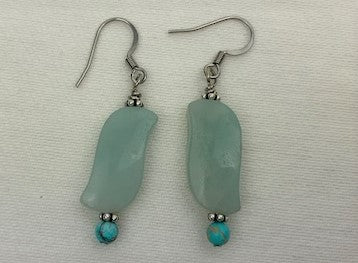 Amazonite with turquoise and silver earrings