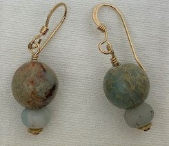 Blue lacy agate with blue amazonite and gold earrings