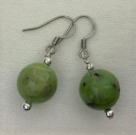 Apple green turquoise with sterling silver beads earrings