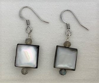 Mother-of-Pearl with labradorite earrings