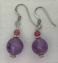 Amethyst and raw ruby with sterling silver daisy earrings