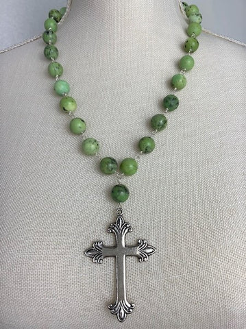 Apple green turquoise with silver cross
