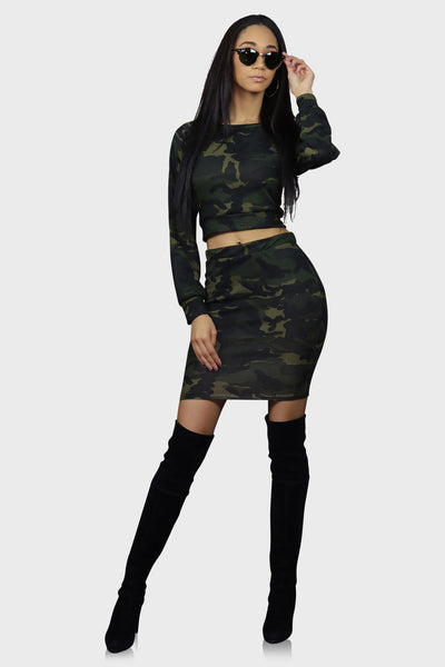 Camo two piece skirt set olive green on model front view