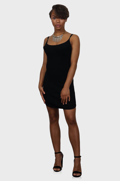 Bodycon mini dress black on model front view