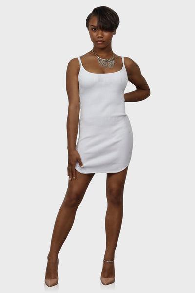 Bodycon mini dress white on model front view